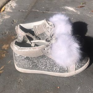 Justice silver pompom sneakers girls 2 used nice